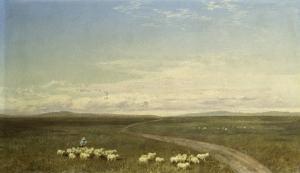 Landscape in Carneiros, Paisaje Con Carneiros by Jose Velasco