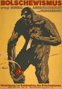 """""""Bolshevism Brings War, Unemployment and Famine"""", 1918 by Josef Engelhart"""