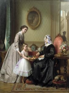 Three Women in a Parlor Room, A Young Girl Offers Fruit to an Elderly Woman, 19th Century by Josef Laurens Dyckmans
