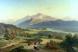 Drover on Horseback with His Cattle in a Mountainous Landscape with Schloss Anif, Salzburg by Josef Mayburger