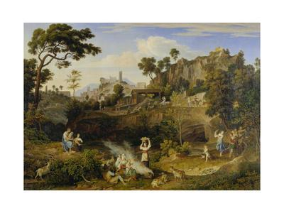 Landscape Near Olevano with Brick Factory and Rural Folk, 1823-24