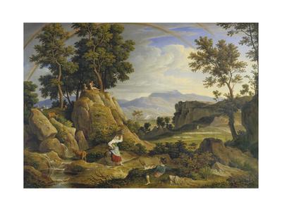 Landscape Near Olevano with Rainbow, 1823-24