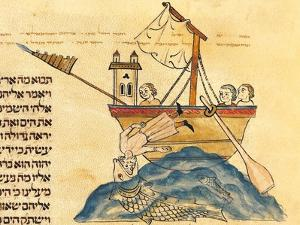 Jonah Eaten by the Whale, from a Hebrew Bible, 1299 by Joseph Asarfati