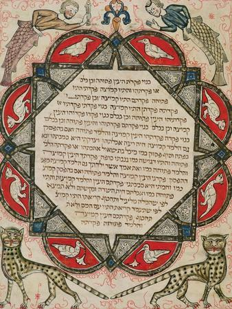 Page from a Hebrew Bible Depicting Fish with the Heads of Humans and Wildcats, 1299