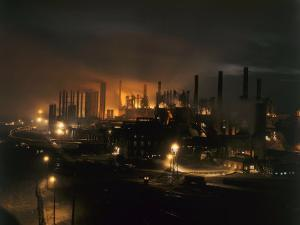 Blast Furnaces of a Steel Mill Light the Night by Joseph Baylor Roberts