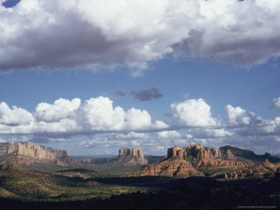 Distant Scenic View of Red Sandstone Rock Formations Near the Village of Sedona