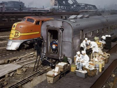 Food and Beverages are Loaded onto the Dining Car of a Luxury Train