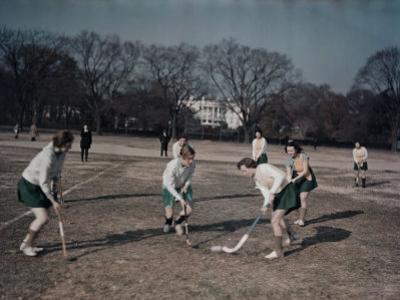 George Washington University Women Play Field Hockey on the Ellipse