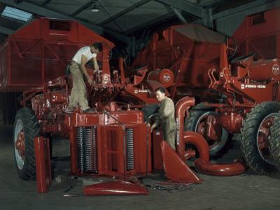 Men Attach a Cotton Picker to a Tractor