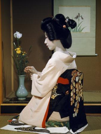 Portrait of a Seated Geisha Wearing Kimono and Obi