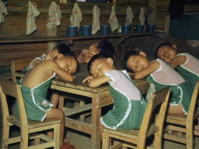 Seated Refugee Boys Rest their Heads on their Arms for a Nap