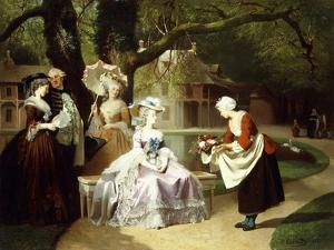 Marie Antoinette and Louis XVI in the Tuileries Garden with Madame Lambale, 1857 by Joseph Caraud