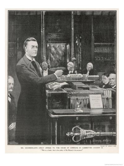 Joseph Chamberlain Liberal Politician Speaking in the House of Commons on 2 August 1901-Sidney Paget-Giclee Print