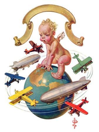 """""""Airships Circling Baby New Year,""""January 2, 1932"""