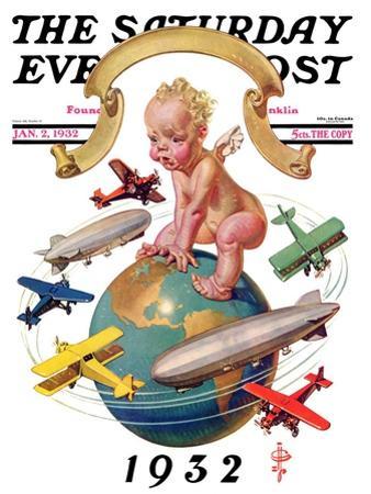 """Airships Circling Baby New Year,"" Saturday Evening Post Cover, January 2, 1932"