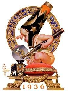 """""""Baby New Year and Crystal Ball,""""January 4, 1936 by Joseph Christian Leyendecker"""