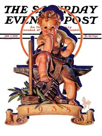 """Baby New Year at Forge,"" Saturday Evening Post Cover, January 1, 1938"