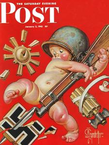 """""""Baby New Year at War,"""" Saturday Evening Post Cover, January 2, 1943 by Joseph Christian Leyendecker"""