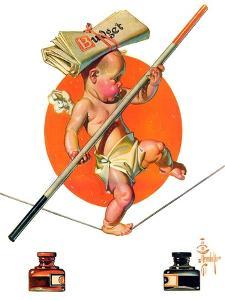 """Baby New Year Balances the Budget,""January 5, 1935 by Joseph Christian Leyendecker"
