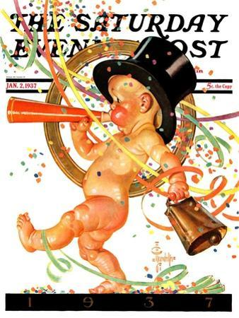 """Baby New Year Celebrates,"" Saturday Evening Post Cover, January 2, 1937"