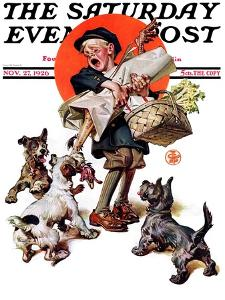"""""""Barking Up the Wrong Turkey,"""" Saturday Evening Post Cover, November 27, 1926 by Joseph Christian Leyendecker"""