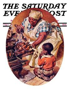 """Basting the Turkey,"" Saturday Evening Post Cover, November 28, 1936 by Joseph Christian Leyendecker"
