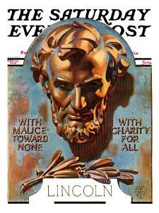 """Bronze Lincoln,"" Saturday Evening Post Cover, February 12, 1938 by Joseph Christian Leyendecker"
