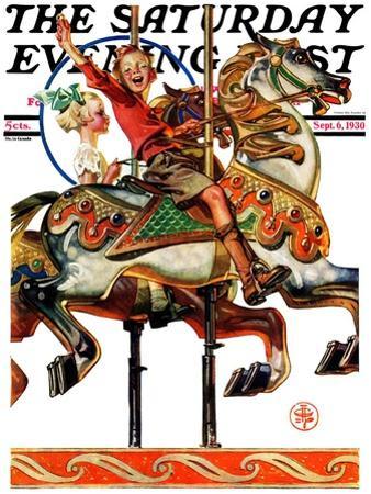 """Carousel Ride,"" Saturday Evening Post Cover, September 6, 1930 by Joseph Christian Leyendecker"