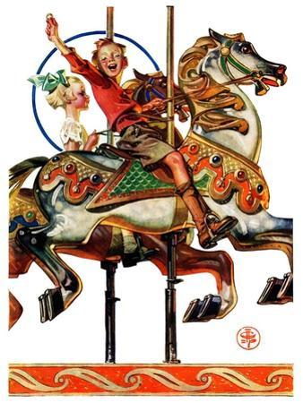 """""""Carousel Ride,""""September 6, 1930 by Joseph Christian Leyendecker"""