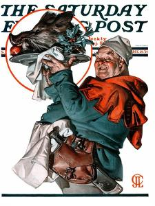 """Christmas Boar,"" Saturday Evening Post Cover, December 20, 1924 by Joseph Christian Leyendecker"