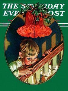 """Christmas Peek,"" Saturday Evening Post Cover, December 23, 1939 by Joseph Christian Leyendecker"