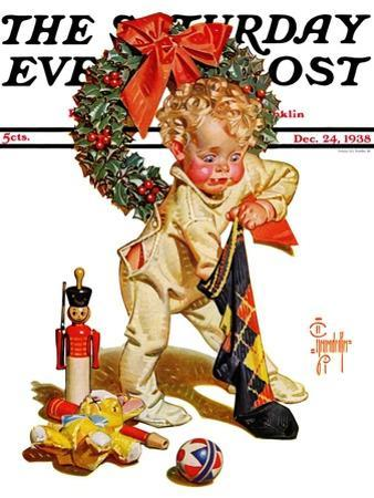"""Christmas Stocking Joy,"" Saturday Evening Post Cover, December 24, 1938"