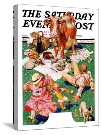 """""""Cow Joins the Picnic,"""" Saturday Evening Post Cover, August 26, 1933"""