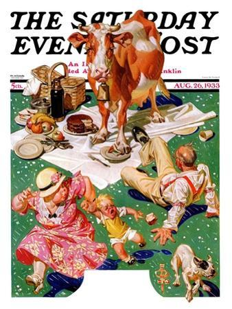 """Cow Joins the Picnic,"" Saturday Evening Post Cover, August 26, 1933"