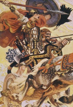 Cuchulain (Cu Chulainn) Rides His Chariot into Battle by Joseph Christian Leyendecker