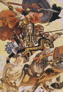 Cuchulain (Cu Chulainn) Rides His Chariot into Battle by Joseph Christian Leyendecker