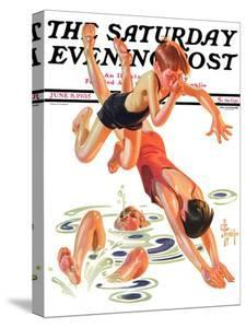 """""""Diving In,"""" Saturday Evening Post Cover, June 8, 1935 by Joseph Christian Leyendecker"""
