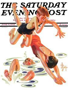 """Diving In,"" Saturday Evening Post Cover, June 8, 1935 by Joseph Christian Leyendecker"