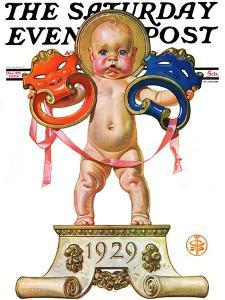 """Dramatic New Year,"" Saturday Evening Post Cover, December 29, 1928 by Joseph Christian Leyendecker"