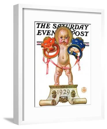 """""""Dramatic New Year,"""" Saturday Evening Post Cover, December 29, 1928"""
