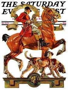 Fall Foxhunting Saturday Evening Post Cover October 19 1929 By Joseph