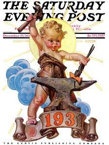 """""""Forging a New Year,"""" Saturday Evening Post Cover, December 27, 1930 by Joseph Christian Leyendecker"""