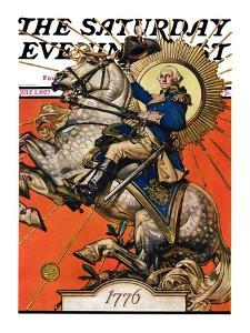 """George Washington on Horseback,"" Saturday Evening Post Cover, July 2, 1927 by Joseph Christian Leyendecker"