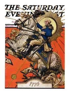 """George Washington on Horseback,"" Saturday Evening Post Cover, July 2, 1927 by Joseph Christian Leyendecker"