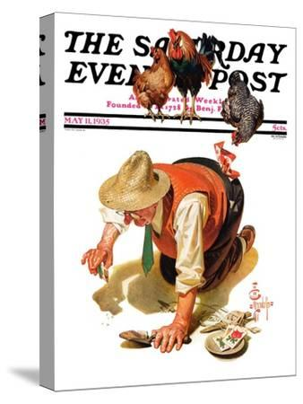 """""""Hens and Gardner,"""" Saturday Evening Post Cover, May 11, 1935"""