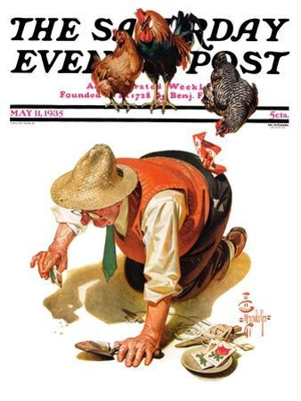 """Hens and Gardner,"" Saturday Evening Post Cover, May 11, 1935"