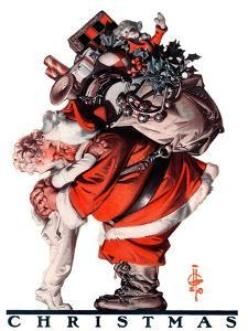 """Hug from Santa,""December 26, 1925 by Joseph Christian Leyendecker"