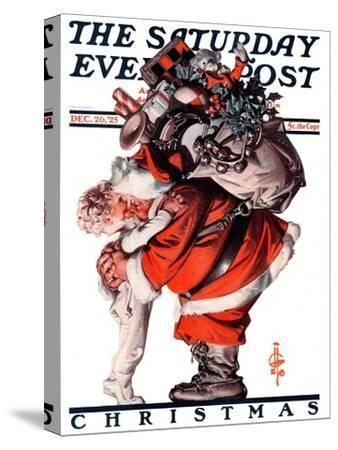 """""""Hug from Santa,"""" Saturday Evening Post Cover, December 26, 1925"""