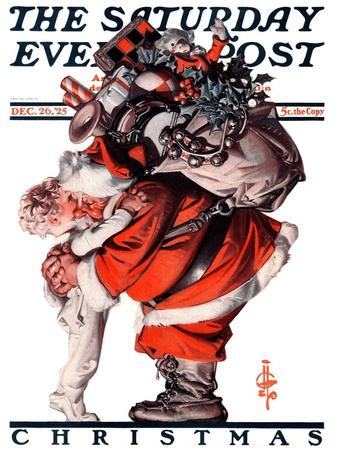 """Hug from Santa,"" Saturday Evening Post Cover, December 26, 1925"