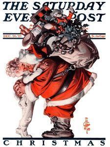 """Hug from Santa,"" Saturday Evening Post Cover, December 26, 1925 by Joseph Christian Leyendecker"